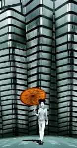 Pep Bofill. Gheisa. (2010). Fotografía y dibujo digital en volumen. 150 x 68 cm. © ab galeria d'art-Antoni Botey. Art Madrid 2011