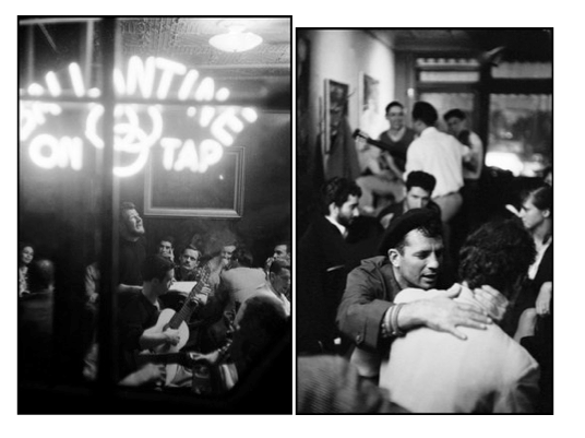 NEW YORK CITY—Kerouac shows affection to an admirer at Seven Arts Cafe, 1959. © Burt Glinn / Magnum Photos//NEW YORK CITY—Poetry and folk singing at McSorley's Saloon, 1959. © Burt Glinn / Magnum Photos